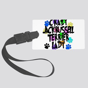 Crazy Jack Russell Terrier Lady Large Luggage Tag