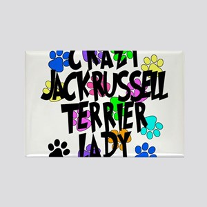 Crazy Jack Russell Terrier Lady Rectangle Magnet