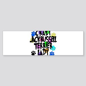 Crazy Jack Russell Terrier Lady Sticker (Bumper)