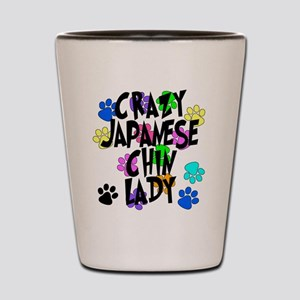 Crazy Japanese Chin Lady Shot Glass