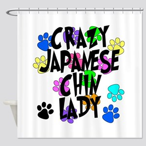 Crazy Japanese Chin Lady Shower Curtain