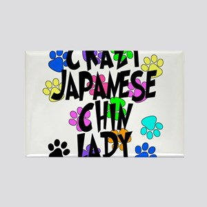 Crazy Japanese Chin Lady Rectangle Magnet