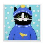 Black Tuxedo CAT Tile Coaster