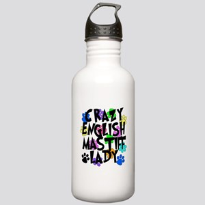 Crazy English Mastiff Lady Stainless Water Bottle