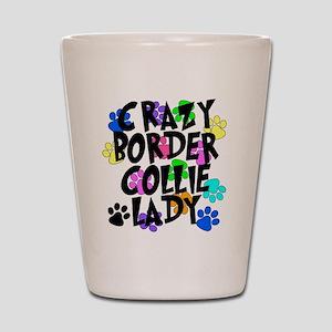 Crazy Border Collie Lady Shot Glass