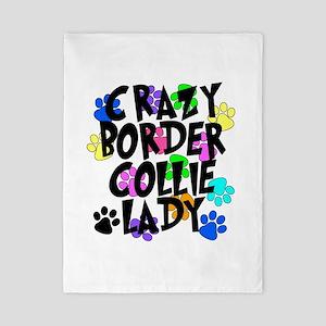 Crazy Border Collie Lady Twin Duvet