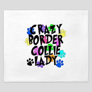 Crazy Border Collie Lady King Duvet