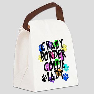 Crazy Border Collie Lady Canvas Lunch Bag
