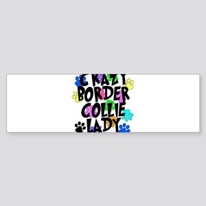 Crazy Border Collie Lady Sticker (Bumper)