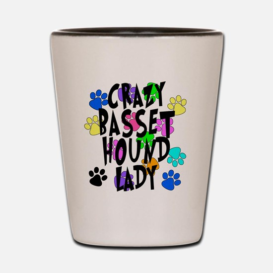 Crazy Basset Hound Lady Shot Glass