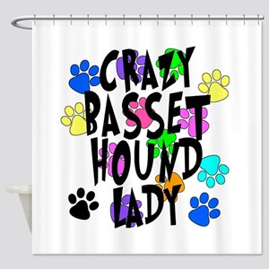 Crazy Basset Hound Lady Shower Curtain
