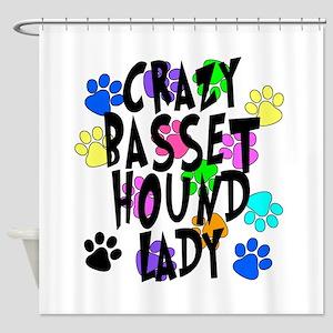 Crazy Basset Hound Lady Shower Curtain