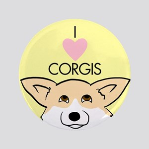 "I Love Corgis 3.5"" Button"