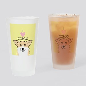 I Love Corgis Drinking Glass