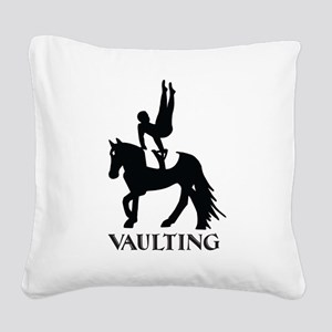 Vaulting Silhouette Square Canvas Pillow