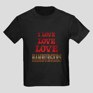 Love Love Hamburgers Kids Dark T-Shirt