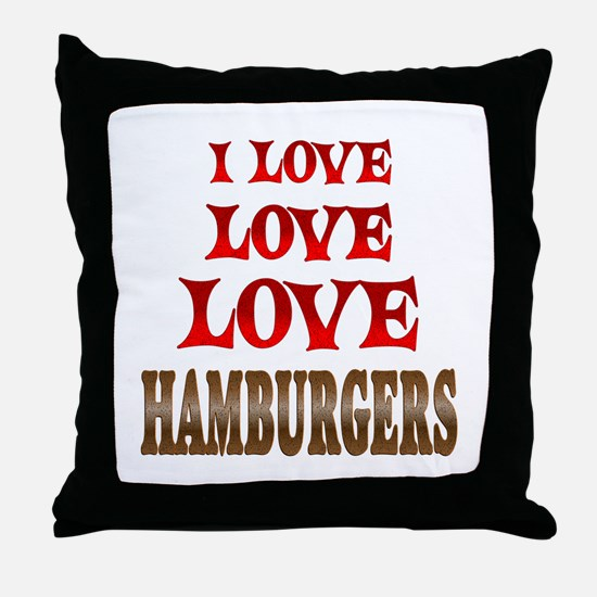 Love Love Hamburgers Throw Pillow