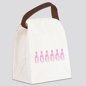 Row Of Pink Marie Antoinettes Canvas Lunch Bag