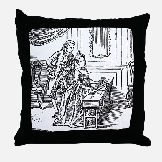 Playing The Harpsichord Throw Pillow