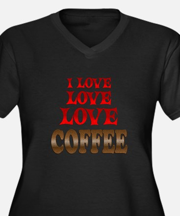 Love Love Coffee Women's Plus Size V-Neck Dark T-S