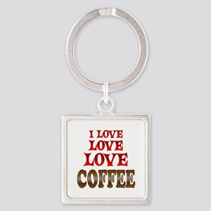 Love Love Coffee Square Keychain