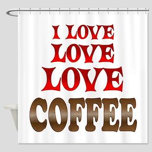 Love Love Coffee Shower Curtain