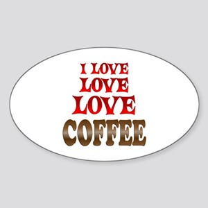 Love Love Coffee Sticker (Oval)