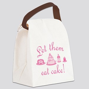 Sweet Pink Let Them Eat Cake Canvas Lunch Bag