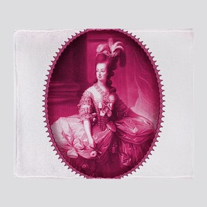 Marie Antoinette Pink Portrait Throw Blanket