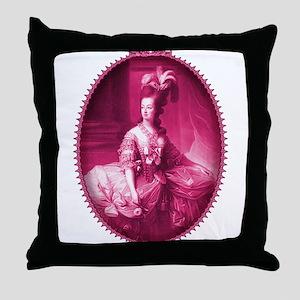 Marie Antoinette Pink Portrait Throw Pillow
