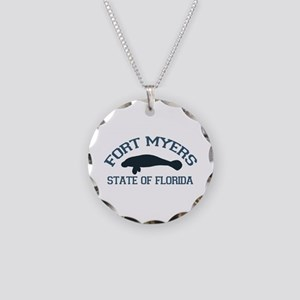 Fort Myers - Manatee Design. Necklace Circle Charm