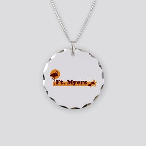 Fort Myers - Beach Design. Necklace Circle Charm