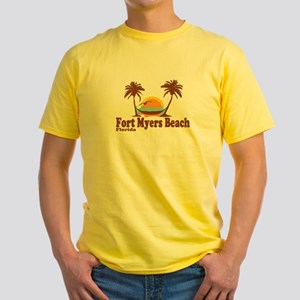 Fort Myers - Palm Trees Design. Yellow T-Shirt