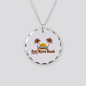 Fort Myers - Palm Trees Design. Necklace Circle Ch