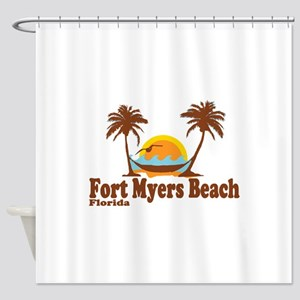 Fort Myers - Palm Trees Design. Shower Curtain