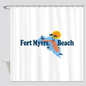 Fort Myers - Map Design. Shower Curtain