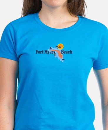 Fort Myers - Map Design. Women's Dark T-Shirt