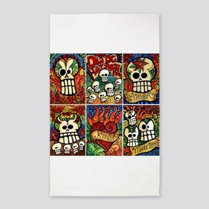 Day of the Dead Sugar Skulls 3'x5' Area Rug
