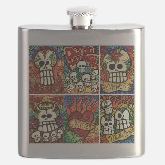 Day of the Dead Sugar Skulls Flask