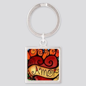 Flaming Milagro Heart Keychains
