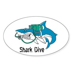 Shark Dive Oval Decal