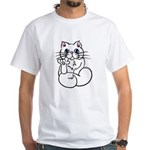 Longhair ASL Kitty White T-Shirt
