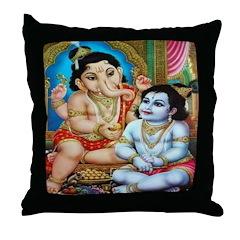 Ganesha and Krishna Throw Pillow