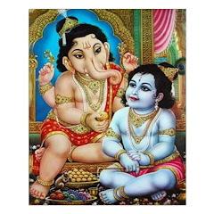 Ganesha and Krishna Unframed Print