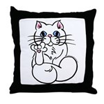 Longhair ASL Kitty Throw Pillow