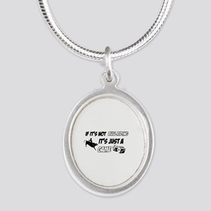 Bull Riding lover designs Silver Oval Necklace