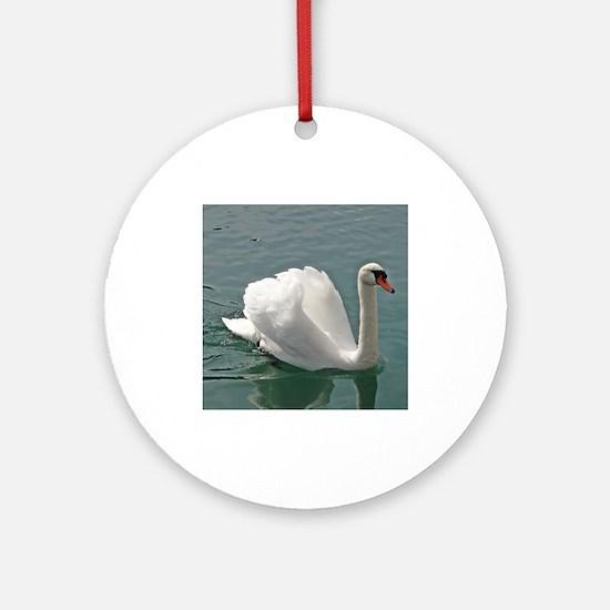 Reflective white swan Ornament (Round)