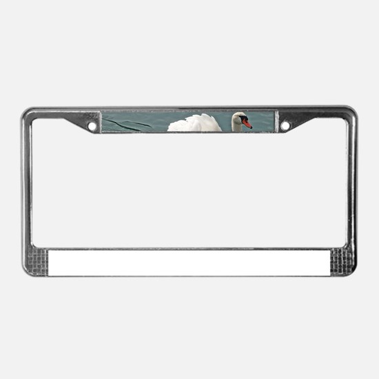Reflective white swan License Plate Frame
