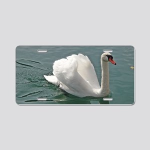 Reflective white swan Aluminum License Plate