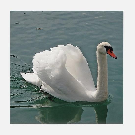 Reflective white swan Tile Coaster